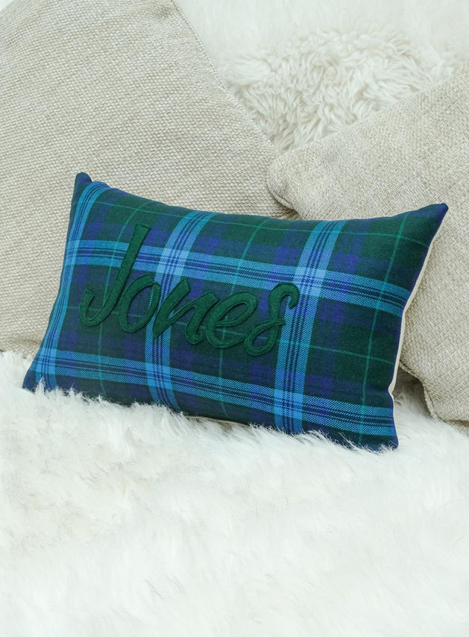 Welsh Tartan Name Cushion