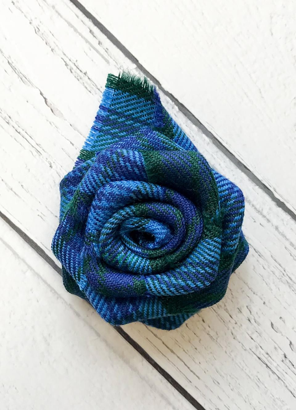Welsh Tartan Rose Brooch