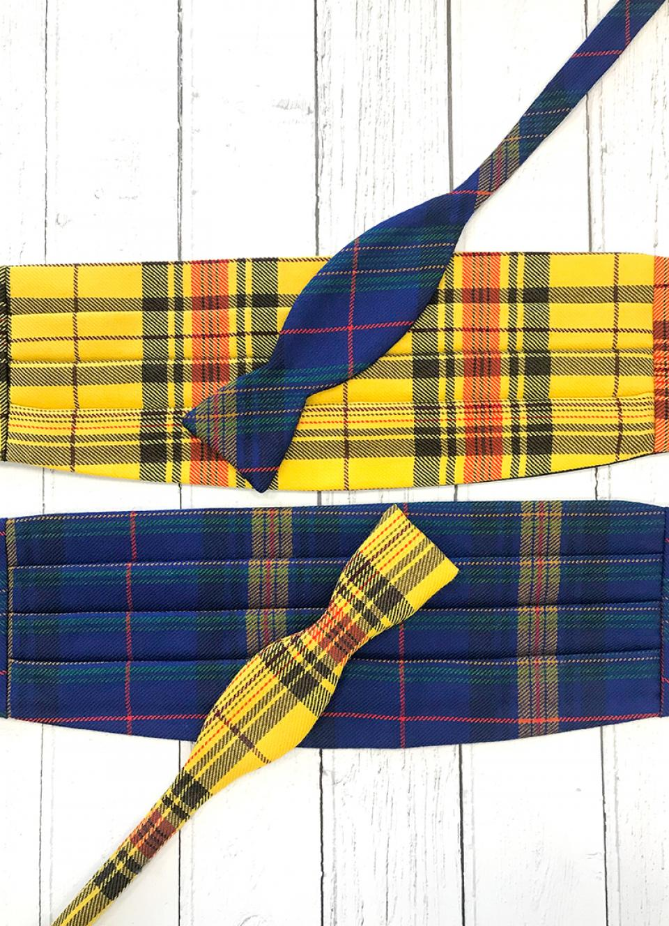 Welsh Tartan Self Bow Tie & Cummerbund Set