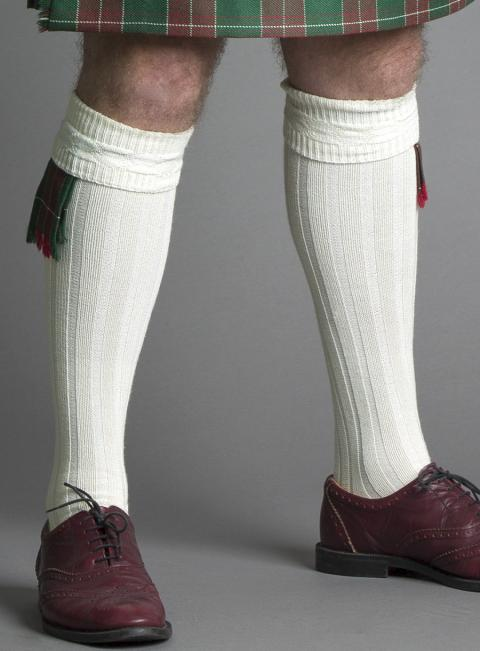 Gents Cream Kilt Hose (Socks)