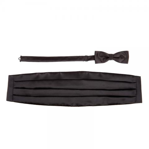 Black Bow Tie & Cummerbund Set