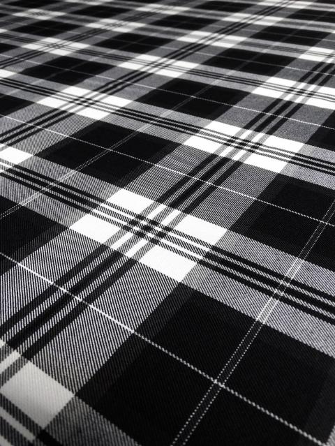 Black & White Poly/Cotton Tartan