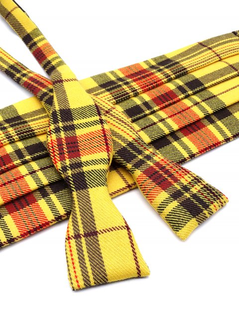 Tartan Self Bow Tie & Cummerbund Set