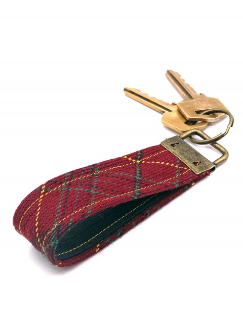 Welsh Tartan Looped Wool Keyring